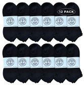 Yacht & Smith Wholesale Bulk Womens No Show Ankle Socks, Cotton Sport Athletic Socks - Black - 12 Packs