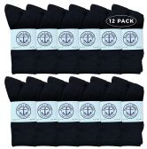 Yacht & Smith Women's Premium Cotton Crew Socks Black Size 9-11 12 pack