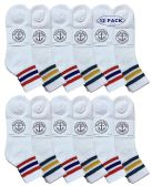 Yacht & Smith Wholesale Mens Mid Crew Skateboard Socks, Cotton Stripe Ankle Socks - White - 12 Packs