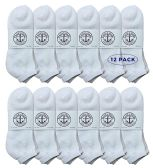 Yacht & Smith Men's King Size No Show Ankle Socks . Size 13-16 White 12 pack