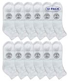 Yacht & Smith Men's King Size Premium Cotton Sport Ankle Socks Size 13-16 Solid White 12 pack