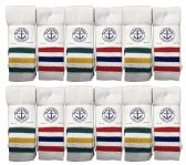 Yacht & Smith Men's King Size Extra Long White Tube Socks With Stripes - Size 13-16 12 pack