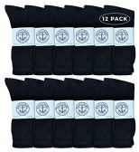 Yacht & Smith Men's King Size Premium Cotton Crew Socks Black Size 13-16 12 pack