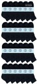 Yacht & Smith Kids Cotton Quarter Ankle Socks In Black Size 4-6 24 pack