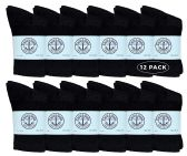 Yacht & Smith Kids Premium Cotton Crew Socks Black Size 6-8 12 pack