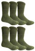 Yacht & Smith Military Grade Wick Dry Crew Socks ,Heavy Duty Boot Sock, Army Green 6 pack