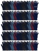 Yacht & Smith Men's Winter Gloves, Magic Stretch Gloves In Assorted Solid Colors 60 pack