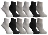 Yacht & Smith Wholesale Bulk Womens Mid Ankle Socks, Cotton Sport Athletic Socks - Assorted, 12 Pairs 12 pack