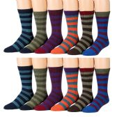 Yacht & Smith Men's Thermal Striped Winter Camping Boot Socks 12 pack