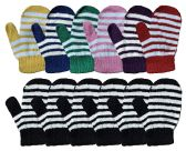 Yacht & Smith Kids Warm Winter Colorful Magic Stretch Gloves And Mittens For 2-5 Age Kids (12 Pairs Stripe) 12 pack