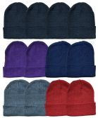 Yacht & Smith Unisex Winter Knit Hat Assorted Colors 36 pack