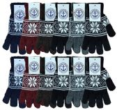 Wholesale Bulk Winter Magic Gloves Warm Brushed Interior, Stretchy Assorted Mens Womens (Mens/Snowflakes, 12) 12 pack