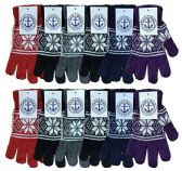 Wholesale Bulk Winter Magic Gloves Warm Brushed Interior, Stretchy Assorted Mens Womens (Womens/Snowflakes, 12) 12 pack