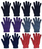 Wholesale Bulk Winter Magic Gloves Warm Brushed Interior, Stretchy Assorted Mens Womens (Womens/Assorted, 12) 12 pack