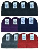 YACHT & SMITH 12 Pack Winter Beanie Hats, Thermal Stretch Unisex Cuffed Plain Skull Knit Hat Cap (Assorted Pack B) 12 pack
