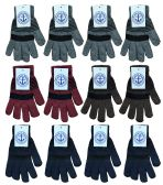 Yacht & Smith Unisex Winter Gloves, Magic Stretch Gloves In Assorted Stripe Colors BULK PACK 36 pack