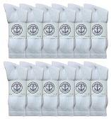 Yacht & Smith Mens Wholesale Bulk Cotton Socks, Athletic Sport Socks Shoe Size 8-12 (White, 12) 12 pack