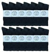 Yacht & Smith Mens Wholesale Bulk Cotton Socks, Athletic Sport Socks Shoe Size 8-12 (Black, 12) 12 pack