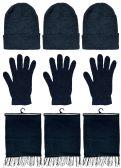 Yacht & Smith 3 Piece Winter Set, Hat Glove Fleece Scarf Unisex (Black, 3 Sets) 3 pack