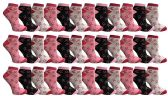 Pink Ribbon Breast Cancer Awareness Ankle/Crew Socks for Women (36 Pairs Assorted, Ankle Socks) 36 pack