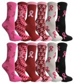 Pink Ribbon Breast Cancer Awareness Crew Socks for Women 12 pack