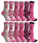 Yacht & Smith Pink Ribbon Breast Cancer Awareness Crew Socks for Women 12 Pairs 12 pack