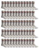 SOCKS'NBULK 60 Pairs Wholesale Bulk Sport Cotton Unisex Crew Socks, Ankle Socks, Value Deal (USA Mens White Crew) 60 pack