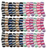 Yacht & Smith Kids Stripe Color Fuzzy Socks Size 4-6 36 pack