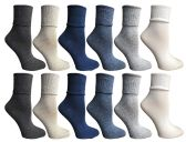 SOCKSNBULK Womens Womens Cuff Bobby Socks Size 9-11 Assorted Colors 12 pack