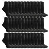 SOCKSNBULK Mens Bulk Pack Ankle Socks Size 10-13 (Shoe Size 7-12), Black