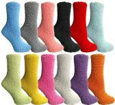 SOCKSNBULK Womens Fuzzy Socks Soft Warm Winter Comfort Socks Multi color, Solid Fuzzy , 9-11