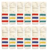 Yacht & Smith Men's King Size Extra Long White Tube Socks With Stripes - Size 13-16