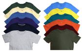 SOCKSNBULK Mens Cotton Crew Neck Short Sleeve T-Shirts Mix Colors Bulk Pack Value Deal (12 Pack Mix, Large)