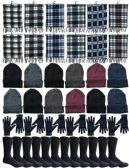 Winter Bundle Care Kit For Men, 4 Piece - Hats Gloves Beanie Fleece Scarf Set In Assorted Colors 240 pack