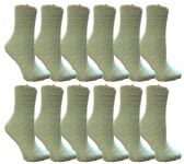 Womens Fuzzy Snuggle Socks Mint, Size 9-11 Comfort Socks