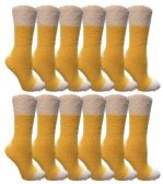 Womens Fuzzy Snuggle Socks , Size 9-11 Comfort Socks Yellow With White Heel and Toe