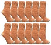 Womens Fuzzy Snuggle Socks , Size 9-11 Comfort Socks Orange With White Heel and Toe