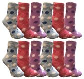 Womens Fuzzy Snuggle Socks , Size 9-11 Comfort Socks Assorted Polka Dots