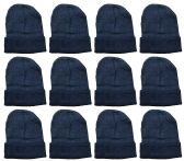 YACHT & SMITH 12 Pack Winter Beanie Hats, Thermal Stretch Unisex Cuffed Plain Skull Knit Hat Cap (Black) 12 pack