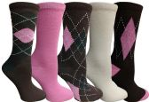 Yacht&Smith 5 Pairs of Womens Crew Socks, Fun Colorful Hip Patterned Everyday Sock (Assorted Argyle E)
