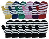 Yacht & Smith Kids Striped Mitten With Stretch Cuff 240 Pairs 240 pack