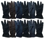 Yacht & Smith Mens Double Layer Fleece Gloves Packed Assorted Colors 144 Pairs 144 pack