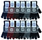 Yacht & Smith Snowflake Print Mens Winter Gloves With Stretch Cuff 240 Pairs 240 pack