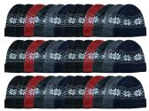 Yacht & Smith Unisex Snowflake Fleece Lined Winter Beanie Hat 144 Case 144 pack