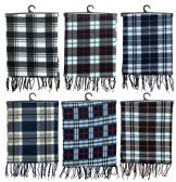 Yacht & Smith Unisex Warm Winter Plaid Fleece Scarfs Assorted Colors Size 60x12 60 pack