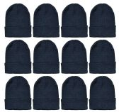 Yacht & Smith Black Beanies Bulk Thermal Winter Hat Solid Black 12 pack